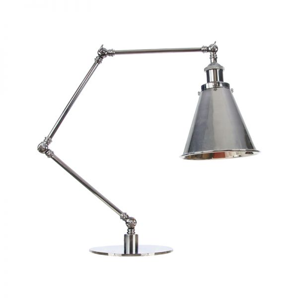 Metal Chrome Table Lighting Cone Flared 1 Light Farmhouse Style Desk Lamp With 8 8 8 8 8 Long Arm Table Lamps