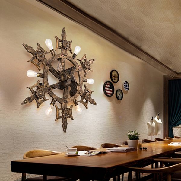 Windmill Shaped Metallic Wall Sconce, Dining Room Wall Sconces